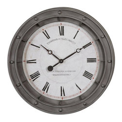 """Origin Crafts - Porthole 24"""" wall clock - Porthole 24"""" Wall Clock Rust gray metal frame with burnished edges. Quartz movement. Dimensions (in):24 W X 24 H X 4 D (in) Weight:10lbs By Uttermost - Uttermost manufactures mirrors, art, metal wall art, lamps, accessories, clocks and lighting fixtures. Usually Ships within three Business Days."""