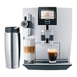 Frontgate - Jura Impressa J9 One-touch Coffee Maker - Preprogrammed to create a full range of coffee drinks. Rotary Selection for choosing your beverage. Adjustable conical burr grinder. High performance 15-bar pump. CLEARYL water filtration system eliminates the need to decalcify your machine. The Jura Impressa J9 One-touch Coffee Maker automatically prepares latte macchiato, ristretto, and other specialty coffee drinks that rival those in the finest coffee shops. Turn the Rotary Switch and a list of specialty coffees appears on the display. Then simply press the button once, and you'll soon be drinking some of the best coffee you've ever tasted.. . . . . . Height adjustable cappuccino spout. Stainless steel 20 oz. vacuum milk container. Fine foam technology creates milk foam with a fine, feather-light consistency. Aroma + grinder reduces grinding time and noise by up to 50%. 3' cord, 120V. Made in Switzerland.