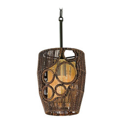 "Corbett - Corbett Havana Mini-Pendant Chandelier - Add a dash of sophisticated tropical flavor to your home with this stunning mini-pendant chandelier. The frame is composed of an environmentally friendly hand-woven abaca fiber. Open circles in the outer frame glow warmly in front of the lighter brown inner shade. An unusual and natural pendant design from Corbett Lighting's Havana collection. Hand-woven abaca fiber frame. Natural abaca finish. Environmentally friendly construction. Takes one 40 watt bulb (not included). 10 1/4"" high and 8"" wide.  Hand-woven abaca fiber frame.   Natural abaca finish.   Environmentally friendly construction.   Takes one 40 watt bulb (not included).   10 1/4"" high and 8"" wide."