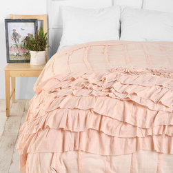 """Rosette Ruffle Duvet Cover - I love any kind of home decor that's unabashedly feminine (probably because my boyfriend/roommate prevents me from purchasing it), and this duvet is no exception. Soft pink ruffles that are sewn on a little haphazardly for that """"rough around the edges"""" look .... sigh, I'm in heaven."""