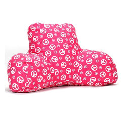 Hot Pink Peace Reading Pillow - Now you can kick back and relax anywhere with this comfortable and supportive Reading Pillow. The Majestic Home Goods Hot Pink Peace Reading Pillow provides back and head support that is perfect for many activities such as reading, watching TV or playing video games. Stuffed with a super loft recycled polyester fiber fill, the reading pillows zippered slipcover is woven from poly/cotton twill. Spot clean slipcover with mild detergent and hang dry. Do not wash insert.