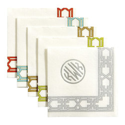 Ballard Designs - Lattice Paper Linen Cocktail Napkins - Set of 100 - Add a monogram for a custom touch. Available in 5 colors. Imported from Germany. The look of linen, the feel of cloth and the ease of paper. Our Lattice Cocktail Napkins are nice enough for a dinner party and strong enough for an outdoor BBQ. Crisply printed on biodegradable paper linen made from managed forests. Lattice Paper Linen Cocktail Napkin features: . . .