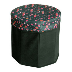 Blancho Bedding - Bubble - Black Round Foldable Storage Ottoman / Storage Boxes / Storage Seat - The Foldable Storage Seat will make an ideal addition to your room, which combines accessible everyday storage with a useful occasional seat. Not only does it provide you a comfortable place to rest, but it also offers extra space to store your gaming gear, gadgets, books, magazines, and other household necessities. With lots of storage space, the ottoman helps you keep your room free from clutter. Made with non-woven fabric and durable cardboard. It spices up your home's decor, and create a multifunctional storage unit for all around your home.