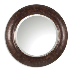 Uttermost - Leonzio Leather Mirror - Mirrors can make a small room seem bigger by reflecting a window outside. They can bring in more light when properly placed and this distressed, hand-finished, brown leather mirror has silver leaf metal accents and can let you keep an eye on what's going on when your back is turned. Can you do without it?