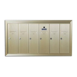 AUTH-FLORENCE - VERTICAL 6 DOOR MAILBOX - Gold anodized aluminum surface mounted mailbox for small apartment buildings. Individual 5-pin cylinder locks with 2 keys each and tenant name card holder standard. | USPS Std-4B+ approved for replacement purposes | Constructed of durable, heavy-gauge extruded aluminum - protect from direct exposure to weather | Doors and trim are striated to resist scratching | Mailboxes feature a full mounting frame that ensures complete enclosure of mail compartments | 5-pin cylinder locks with 2 keys, 1000 key changes | Tenant-name card holder standard | 16 In. high x 5-1/2 In. wide door size | 16-1/2 In. H x 5 In. W x 6 In. D compartment size | For installation instructions and other information, log on to www.auth-florence.com