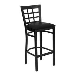 Flash Furniture - Flash Furniture Hercules Series Metal Bar Stool in Black - Flash Furniture - Bar Stools - XUDG6R7BWINBARBLKVGG - This heavy duty commercial metal bar stool is ideal for Restaurants Hotels Bars Pool Halls Lounges and in the Home. The lightweight design of the stool makes it easy to move around. The tubular foot rest not only supports your feet but acts as an additional reinforcement that helps secure the legs. This stool will keep you comfortable with the easy to clean vinyl upholstered seat. You will not regret the purchase of this bar stool that is sure to complement any environment to fill the void in your decor. [XU-DG6R7BWIN-BAR-BLKV-GG]