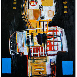 "Bust Of An Unknown Poet (Original) by Reinder Oldenburger - This large, original piece is painted in acrylic, oil, ink and spray paint on canvas and was made in November 2013, New York City. It is titled ""Bust of an Unknown Poet"" and is signed on the front and dated on the back. The canvas is stretched on heavy duty stretcher bars with the sides painted black. A Certificate of Authenticity is included. Will ship ready to hang!"