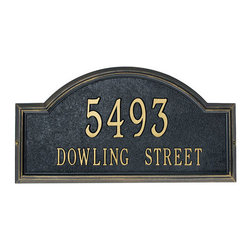 Providence Arch Address Plaque - Mark your exterior with style and confidence. This rectangular plaque features a graceful arched top and an embellished edge. Your choice of one or two lines of personalization.