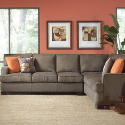 Coaster Brown Microfiber Sectional Sofa Corner Couch Traditional Soft - Add a simple and slightly retro sectional to your home with our Alvah sectional. Covered in a soft olive brown herringbone microfiber. This sectional features attached seat cushions, loose fiber filled back cushions, clean lines, plenty of seating and four complementary accent pillows. Add a pop of color to this set with matching accent chair.