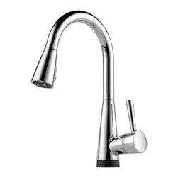 "Brizo - Brizo 64070LF-PC Chrome Venuto Venuto Kitchen Faucet Single Handle - Venuto Low Lead Compliant Single Handle Kitchen Faucet with Pull-Down Spray and SmartTouch TechnologySleek Euro pull-down design paired with cutting edge technology.Faucet Features:Single handle, 2-function pull-down kitchen faucets for exposed mounting on single, two and three hole sinks.Smart Touch  on/off functionality.On-off indicator light also signals when batteries run low.15 1/2"" (393 mm) high, 9 1/2"" (241 mm) long, spout swings 360?.Lever handle. Full motion valve cartridge.Magnetic docking system secures sprayer to spout.Touch-Clean  sprayhead.Pull-down wand operates in an aerated or spray mode via an ergonomic toggle diverter.Thin deck mounting aid to help secure product if used on thin sinks.Dual integral check valves in sprayer assembly.Integrated removable debris screen in sprayer assembly.Disposable hose lead to aid installation.Spacer for mounting nut to reduce number of turns required for installation.Mounting wrench to assist in tightening mounting nut securely.Hose travels inside mounting shank so it will not interfere with deck edges.Faucet Specifications:ADA Compliant: YesLow Lead Compliant: YesFiltering: NoHeight: 15.5""Width: 6""Spout Height: 8.1250""Spout Reach: 9.5""Spout Swivel: 360 DegreeSpout Type: SwivelMax Deck Thickness: 2.5""Faucet Holes: 1Faucet Centers: 0Flow Rate (GPM): 2.2Product Weight: 11.270 lbs.Number Of Handles: 1Handle Style: Metal LeverHandles Included: YesEco Friendly: NoEscutcheon Included: NoPre Rinse: NoPullout Spray: YesSidespray Included: NoSoap Dispenser Included: NoInstallation Type: Deck MountedV"