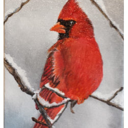 """Cardinal in winter""  (Original) by Nilha  Pearce - We don't get a lot of snow in Georgia, but when we do it is memorable. Watching the birds frolic in my snow covered backyard was quite a site! This little guy is one of my memories of the winter of 2014."