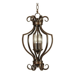 Craftmade - Craftmade Builder Series Transitional Foyer Light X-3RP0117 - This foyer light by Craftsman Builder showcases a brilliant stately metal cage with a deep Peruvian Bronze finish. The incandescent bulbs (not included) shine like candles at the very center, providing a warm, flattering glow. Comes with 6' of chain and 7' of cord.