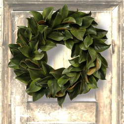 Jane Seymour Green Magnolia 24-in. Wreath - Our Jane Seymour Green Magnolia 24-in. Wreath will bring a delightful, realistic burst of nature's colors, without harming a single leaf. Welcome to the world of permanent botanicals by Jane Seymour. Beloved for her artistic talent both onscreen, on canvas, and in the home, Jane Seymour has turned her attention toward making the most realistic, lush, and ever-green silk flowers you'll find. Ready to place in your home, this pretty wreath will add flair and discerning style wherever you place it.