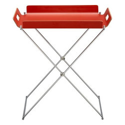 formosa burnt orange tray table - Accent with a burst of orange and place this little tray table in a small unused spot, giving you an instant bar.
