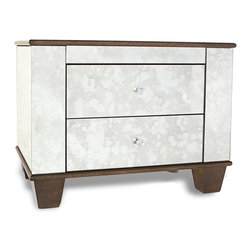 Zuri Furniture - Santos Mirrored 2 Drawer Modern Night Stand - The perfect mix of classic design with a modern twist, the Santos collection provides a beautiful antique mirrored finish and gold accents. Pair with other items in this collection to complete the look!
