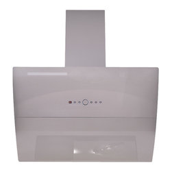 "AKDY - AKDY  AK-Z10B7 Euro Stainless Steel Automatic Wall Mount Range Hood, White, 30"" - The tempered glass canopy and the 19 gauge white stainless steel on this range hood will bring a sleek, modern look to your kitchen. The internal blower features a low noise dual chamber and centrifugal motor, that pulls smoke and fumes up into the dishwasher safe aluminum grease filter. This hood has 3 speed settings, each with a timer function, that increase up to 760 CFM. This hood features a touch sensitive glass with LED lighting and an automatic shut off system. The dual LED light bars provides a work space with no shadows. This wall mounted vent hood features a telescopic chimney that fits ceilings up to 8.5-feet."