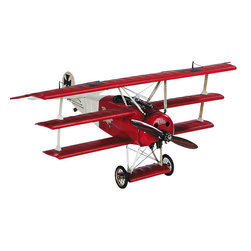 """Inviting Home - Baron Rouge Desktop Plane Model - Baron Rouge desktop plane model; 15-3/8"""" x 18-1/2"""" x 7-1/2"""" Desktop model of the legendary Red Baron�s own plane. Plane model decked out in trademark red all details are hand-crafted. Baron Rouge plane is icons of early flight."""