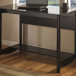 My Space by Bush - Aero Desk in Classic Black Finish - Durable gray tinted glass top shelf. Spacious bottom shelf. Attractive and elliptical quarter turned legs. Versatile and contemporary style. Warranty: 1 year. Made from sturdy woods and laminates. Assembly required. 47.17 in. W x 23.19 in. D x 30.08 in. H (73 lbs.)The Aero Collection Desk combines the sleek design of the Aero line with the pure functionality you need.