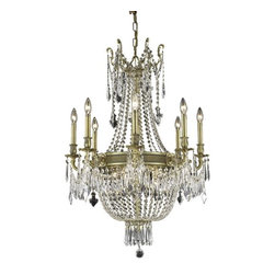 "PWG Lighting - Telfour 12-Light 26""D Crystal Chandelier 7916D26FG-EC - Cast brass arms and finely detailed rings and center columns accented by glamorous crystal beading evoke royalty in this Telfour Collection. Coordinating crystal baskets complement these stately designs."