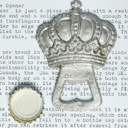 Crown Bottle Opener - Silver - Hand-painted in a weathered, clouded silver, the Crown Bottle Opener is a cast-iron accessory for the home with an antique patina achieved by skillful finishing. A more personable and inviting variation to standard barware, the bottle opener is topped by a traditional, ornate crown design, carrying regal notes into the appointments of your outdoor bar area or indoor dining space.