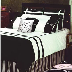 Rizzy Rugs - Jashmeen King Bedding Ensemble - This 100% cotton bed linen will your room a trendy as well fresh look. The classic combo two extremes, black and white looks sophisticated and youthful. Professional machine wash. Set Includes:  -One Duvet Cover: 98 x 114, Two Euro Shams: 30 x 30, Two King Shams: 20 x 36, One Cushion: 18 x 18, One Double Sham: 21 x 76 and Bed Skirt: 78 x 80  -Each bedding ensemble comes with 100% polyester fill for the duvet and accent pillows.  -Standard and Euro Shams do not come with fillers Rizzy Rugs - BT-512K