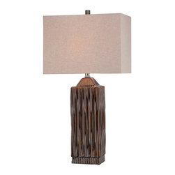 Lite Source - Lite Source LS-21619 Ashby 1 Light Table Lamps in Ceramic - Table Lamp, Ceramic Body/Linen Fabric Shade, E27 Cfl 23W