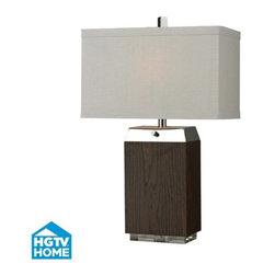 Dimond Lighting - Dimond Lighting HGTV312 HGTV Home Dark Wood Veneer & Silver Plated Table Lamp - Features: