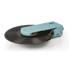"""Crosley Radio - Portable USB Turntable in Turquoise - Portable Turntable. USB Enabled For Connection to Windows Equipped PC and Mac. Software Suite For Ripping And Editing Audio Content. Belt Driven Turntable Mechanism. Plays 7 in. and 12 in. Records. Plays 2 Speeds - 33 1/3 And 45 RPM Records. Manual Return Tone Arm. Hi Tech ABS Construction. Diamond Stylus Needle. Battery Powered (6 AA) Required. Includes Ear Bud Style Headphones with Integrated Storage Compartment. 10.75 in W x 4 in. D x 3.25 in. H (1.5 lbs)Taking the record player """"out of the box"""", Crosley's Revolutionary turntable truly fits the word in every way. It is a turntable of firsts. The first battery powered Crosley turntable and the first with a platter smaller than a teacup saucer. Where other record players must be kept in their designated place, the Revolution, practically begs to join you on every journey. Users can tote this two-speed turntable with them to vinyl swaps, to a friends house or down to the local record store. Featuring a USB hookup for easy analog-to-digital transfer, the Crosley Revolution, will allow users to free their favorites from the grooves for digital enjoyment across a variety of devices. This small but mighty turntable also features a headphone jack, and a pair of earbud headphones."""