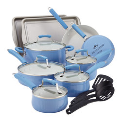Paula Deen - Paula Deen Savannah Collection Blueberry 17-piece Aluminum Nonstick Set - Make your favorite meals for your family with this durable Paula Deen cookware set. It comes in a beautiful blueberry color to coordinate with your kitchen decor,and the pots and pans have a non-stick surface,which helps prevent burning.