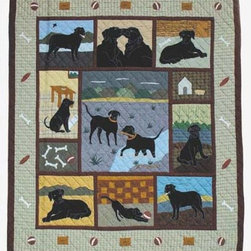Patch Quilts - Black Lab King Duvet Cover - -Constructed of 100% Cotton  -Machine washable; gentle dry  -Made in India Patch Quilts - DCKBLAB