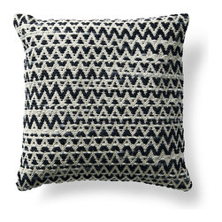 Frontgate - Bohemian Woven Throw Pillow - Makes a vibrant addition to a chair, sofa or bed. Neutral colors (gray, cream and black) pair well with any decor. Decorative design on pillow front, woven of 100% wool. Back of pillow is woven of 100% cotton. Feather/down insert. With a diamond-patterned design woven in 100% wool, this Diamond Gray Bohemian Decorative Pillow looks and feels like a hand-loomed wool kilim rug. Given a feather/down insert and knife-edge finish, this makes a casual, geometric accent piece with textural appeal.. . . . . Zippered closure for easy care. Dry cleaning recommended. Imported.