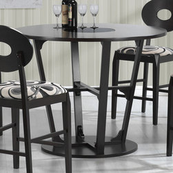 "Coaster - Gregory Counter Height Table, Cappuccino - The round motif throughout creates a unique focal point for your casual dining space. The table top features a black glass in the center for an updated look. Chairs come in a hip black and white pattern with oval back finished in a deep cappuccino. Simple yet sophisticated, the counter height stools will provide comfortable, cushioned seating with an inspiring design.; Contemporary Style; Cappuccino Finish; Dimensions: 47.25""diameter""L x 37""H"