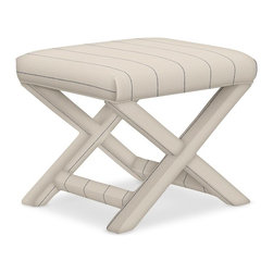 X-Base Stool, Cotton Polyester French Stripe, Admiral - I envision using a pair of these casual benches at the end of the bed in a transitional room or a beach home.