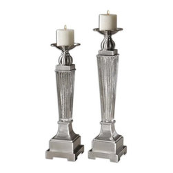 Carolyn Kinder - Carolyn Kinder Canino Traditional Candle Holder X-96791 - Ribbed mercury glass with brushed aluminum accents. Distressed beige candles included. Sizes: Sm-5 x 20 x 5, Lg-5 x 22 x 5