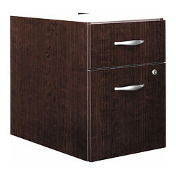 """Bush Business - Assembled 3/4 Pedestal File in Mocha Cherry - The austere and elegant silvery pulls fashionably contrast with the opulent warmth of the classically inspired Mocha Cherry finish.  The front lock on the file drawer secures both it and the upper office supply drawer for privacy and security. * Mounts to left or right side of Bow Front Desk, Desk 72"""" or Desk 66"""". One box and one file drawer for storage needs. File drawer has full-extension ball bearing slides and accepts letter or legal-size files. One lock on file drawer secures both drawers for work place privacy. Fully finished drawer interiors. Fully assembled unit . 15.512 in. W x 20.276 in. D x 20 in. H"""