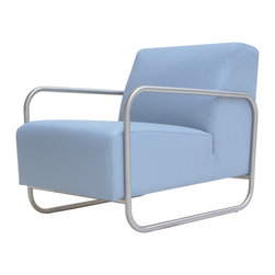 60s Chair - Contemporary chair with arms in stainless steel upholstered in 100% real leather.