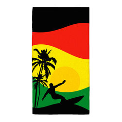 """Surfer Mon"" Jamaican Colors Hand Towel - Hand Towels are made of a super soft poly fiber fabric with 2mm pile."