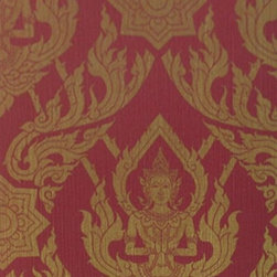Bijou Coverings - Thai Buddha Textured Decorative Wallpaper, Red - This beautiful Thai Buddha inspired textured decorative wallpaper by Bijou Coverings  can transform a room quickly and easily. In today's world, wallpaper is the hip new approach to cover your walls, a way to express your individuality and personal taste. You can wallpaper all four walls or just even an accent wall. Our patterns consists of being fresh and modern with great textures. We have an option for all tastes. Our wallcoverings are washable for stability and ease of use.