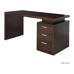 "Nuevo Living - Benjamin Office Desk, Dark Walnut - Put the ""Oh!"" in organized with this sleek platform desk. With three ample-sized drawers in your choice of a handsome light or dark walnut finish, you finally have a stylish new desk for your laptop — and no more excuses for getting started on those plans to sort out the study."