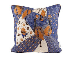 Brilliant Imports - Quilted Peacock Batik Pillow, Indigo Blue - We shopped for the batik in Denpasar.  After each vivid fabric was carefully chosen, I then met with a seamstress who works across the street from my friend, Suparta, in Ubud.  We analyzed each pattern to create the perfectly shaped pillow dimensions that highlight the beauty of the fabric design.  Each pillow was then handmade to these specifications. In quilted indigo blue batik.  Includes insert.