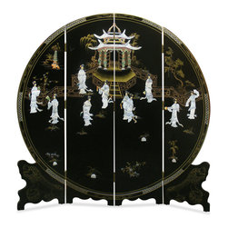 """72in Black Lacquer Mother of Pearl Motif Floor Screen - Tapered on the edge to fit the circular shape, the symbol of eternity in Feng Shui, this four-panel floor screen is exquisitely hand-painted and decorated with mother of pearl to exhibit a panoramic view of a Chinese social scene in ancient time. Treasured for not only its artistic quality but also its contribution in Feng Shui, according to which a rectangular room should be balanced with a prominent round object such as this round floor screen. Imported directly from China. Gold bamboo trees are softly painted on the back. Each panel measures approximately 18""""W."""