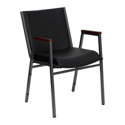 Flash Furniture - Hercules Stack Chair w Arms - Set of 2 - Set of 2. Thick high density foam. 0.63 in. thick plywood seat and back. 0.63 in. stretcher bars in front and back provide superior support. Durable black vinyl upholstery. Cherry finished arm rests. Eight plastic bumper guards. Heavy Duty 0.75 in. square tube frame constructed. 18 gauge high carbon steel. Plastic floor glides. Ganging brackets available. Meets or exceeds CA117 fire resistance standards. Limited lifetime warranty on frame. Warranty: 2 year limited. Silver vein powder coat frame finish. No assembly required. Back: 18 in. W x 15 in. H. Seat: 16.5 in. W x 18 in. D. Seat Height: 18 in.. Arm Height from Floor: 24.75 in.. Arm Height from Seat: 7 in.. Overall: 21 in. W x 21 in. D x 31 in. H (21 lbs.)