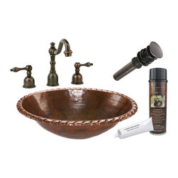 """Premier Copper Products - Premier Copper Products BSP2_LO19RRDB 19"""" Roped Self Rimming Copper Sink Package - Premier Copper Products BSP2_LO19RRDB Oval Roped Self Rimming Copper Sink Package"""
