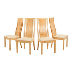 Thomasville - Consigned Mid Century Modern Burled Olive Wood Dining Chairs by Thomasville - •Mid Century Modern | Hollywood Regency