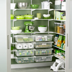 White Elfa Walk-In Pantry - If you have a blank slate to work with, the Elfa shelving system looks easy to install and attractive to boot. I love the wire drawers and the flexibility it offers.
