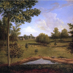 """Charles Willson Peale Landscape Looking Towards Sellers Hall Print - 16"""" x 24"""" Charles Willson Peale Landscape Looking Towards Sellers Hall from Mill Bank premium archival print reproduced to meet museum quality standards. Our museum quality archival prints are produced using high-precision print technology for a more accurate reproduction printed on high quality, heavyweight matte presentation paper with fade-resistant, archival inks. Our progressive business model allows us to offer works of art to you at the best wholesale pricing, significantly less than art gallery prices, affordable to all. This line of artwork is produced with extra white border space (if you choose to have it framed, for your framer to work with to frame properly or utilize a larger mat and/or frame).  We present a comprehensive collection of exceptional art reproductions byCharles Willson Peale."""