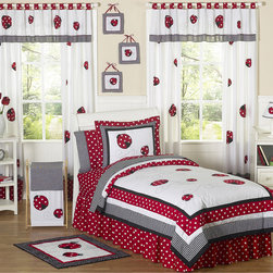 Sweet Jojo Designs - Sweet Jojo Designs Girls 'Ladybug' 4-piece Twin Comforter Set - This whimsical bedding set from Sweet Jojo Designs combines cotton solid fabrics with gingham and polka-dot prints for a comfortable,adorable design. The bright ladybug appliques and embroidered swirls make this the perfect set for your little ladybug.
