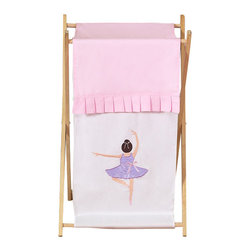 Sweet Jojo Designs - Ballerina Hamper - The Ballerina laundry hamper will help complete the look of your Sweet Jojo Designs room. This adorable laundry clothes hamper includes a wooden frame, mesh liner and fabric cover. The removable hamper body is secured to the wooden frame with corner loops and Velcro. The wooden stand folds flat for space-saving storage and the removable mesh liner is great for toting laundry. Dimensions: 26.5in. x 15.5in. x 16in.
