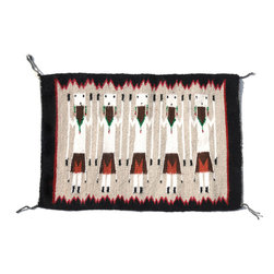 Consigned Yei Tapestry Navajo Rug - Navajo Yei Pictorial Rug in sharp blacks and greys, Tapestry quality in softness and knot count, this fine Navajo textile was made by an extremely talented artist.