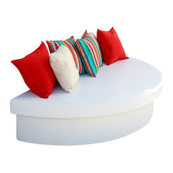 Home Infatuation - Half-Round Moon Pad - If this is what the moon feels like, grab the next shuttle. Soft, cushy and perfect for filling in that empty space on your patio or deck. It's long enough to provide lots of extra seating for guests. And if someone spills, just wipe it up with a damp cloth.
